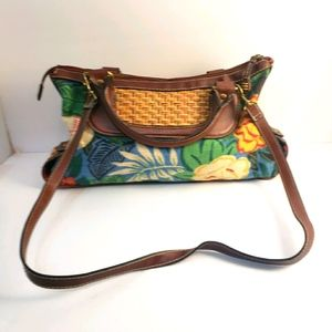 Fossil canvas & leather floral bag